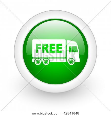 free delivery green circle glossy web icon on white background