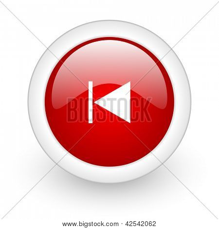 prev red circle glossy web icon on white background