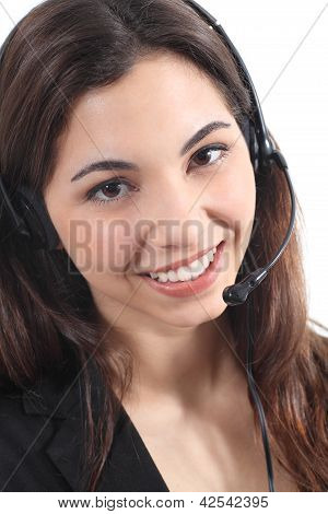 Beautiful And Happy Telephonist Woman