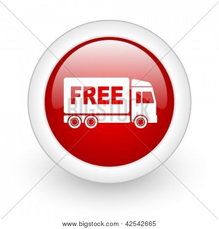 free delivery red circle glossy web icon on white background