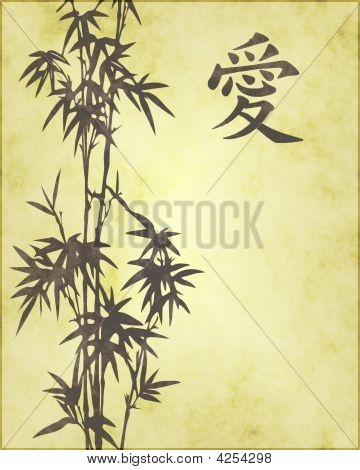 Faded Kanji Love Symbol With Bamboo
