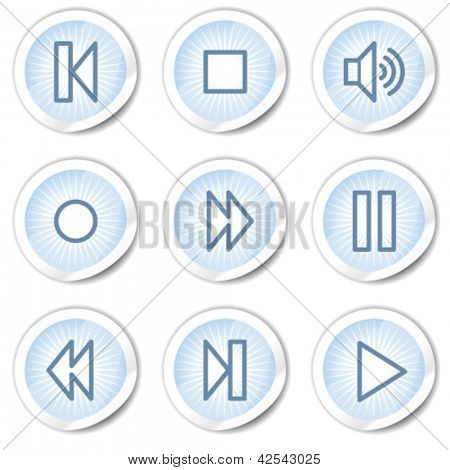 Walkman web icons, light blue stickers