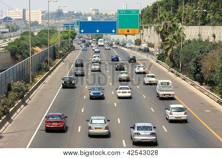 Traffic flow on freeway during rush hour in Tel Aviv, Israel.