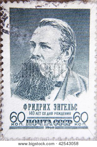 RUSSIA - CIRCA 1960:the stamp printed by USSR shows  portrait Frifrich Engels cofounder of Communism