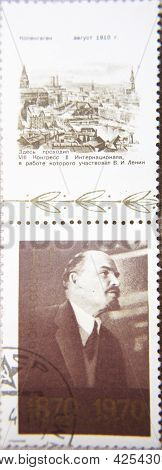 RUSSIA - CIRCA 1970: stamp printed by USSR at 1969 shows portrait of Socialist leader Lenin