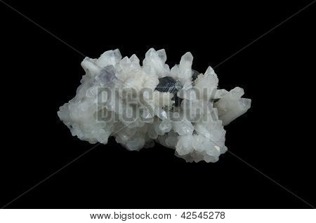 White Quartz, Sphalerite, Calcite Black Background