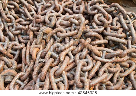 Rusty chain for ship