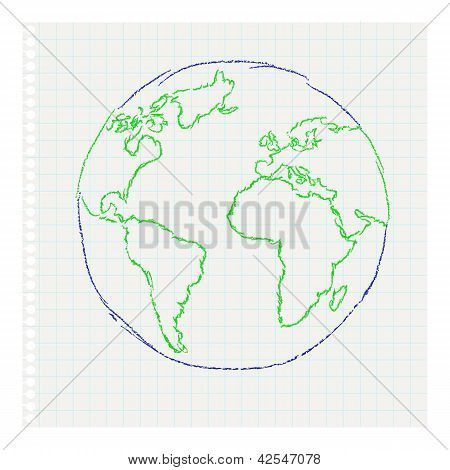 Child's Drawing Of The Planet Earth On A Notepad Leaf