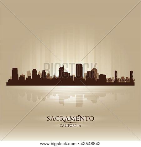 Sacramento California Skyline City Silhouette