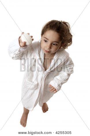 Little Girl Holding Soap