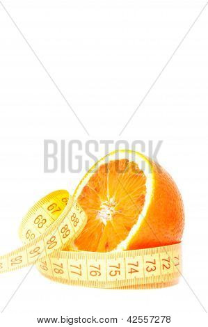 An Half Orange With Tape Measure And Space For Text