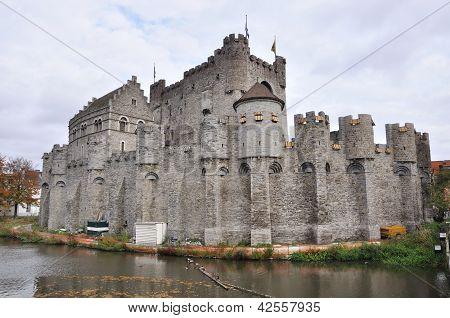 Gravesteen Castle In Ghent, Belgium (panorama)