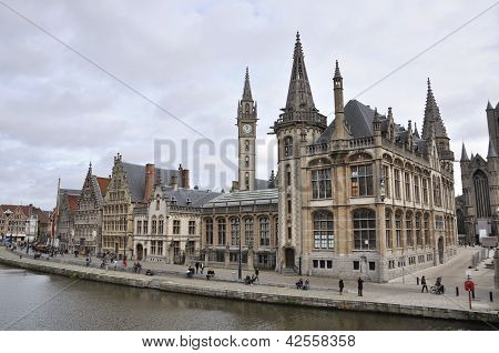 Ghent Canal And Graslei Street. Ghent, Belgium