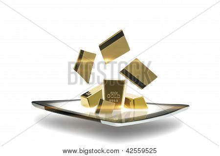 Modern Tablet With Gold Bullion
