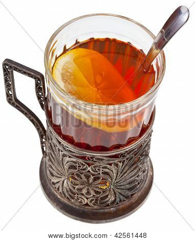 Tea With Lemon In Vintage Glass With Spoon