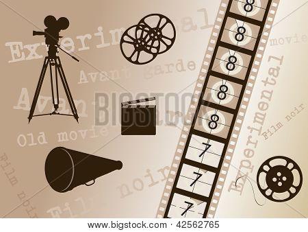 Movie Camera, Film Strip, Director Clapper, Megaphone And Film Roll - Vintage