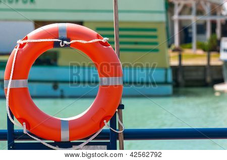 Red Bouy On A Ship