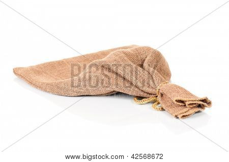 Empty small sack, isolated on white background