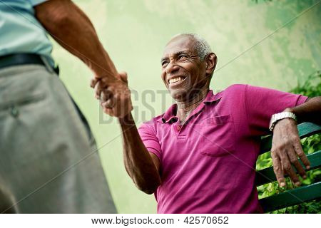 Old Black And Caucasian Men Meeting And Shaking Hands In Park