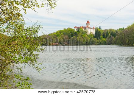 Beautiful castle Konopiste reflecting in water, Czech Republic