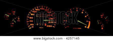 Car Dashboard Gages In The Dark