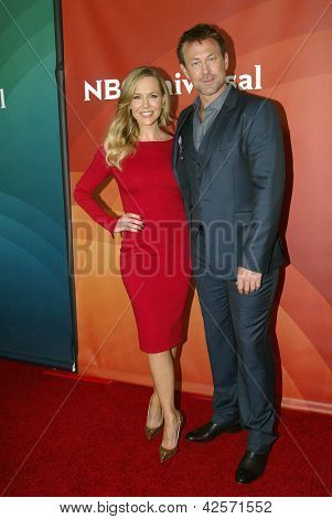 PASADENA, CA - JAN. 7: Julie Benz and Grant Bowler arrive at the NBCUniversal 2013 Winter Press Tour at Langham Huntington Hotel & Spa on January 7, 2013 in Pasadena, California