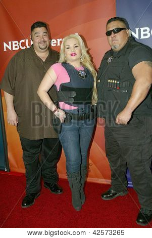 PASADENA, CA - JAN. 7: Lou Pizarro, Monique Covarrubias & Roman Morales arrive at the NBCUniversal 2013 Winter Press Tour at Langham Huntington Hotel & Spa on January 7, 2013 in Pasadena, California