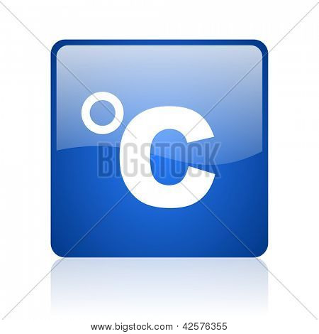 celsius blue square glossy web icon on white background
