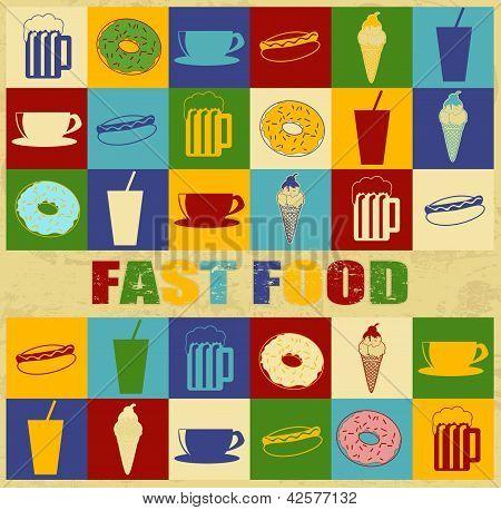Fast Food Vintage Poster