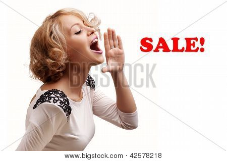 Young Blonde Woman Shout And Scream Using Her Hands As Tube, Studio Shoot Isolated On White