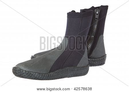 Boots, Equipment For Scuba Diving. On A White Background.
