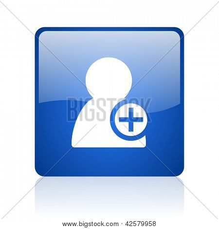 add contact blue square glossy web icon on white background