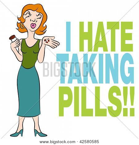 An image of a woman who hates taking pills.