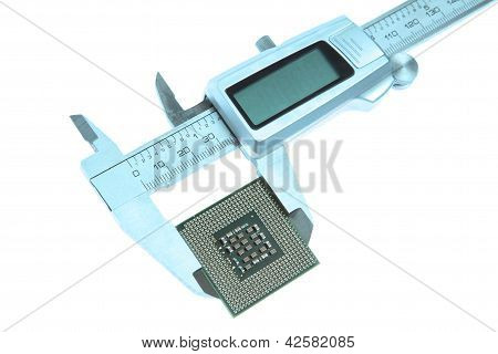 Vernier Trammel  Measures The Cpu. On A White Background.