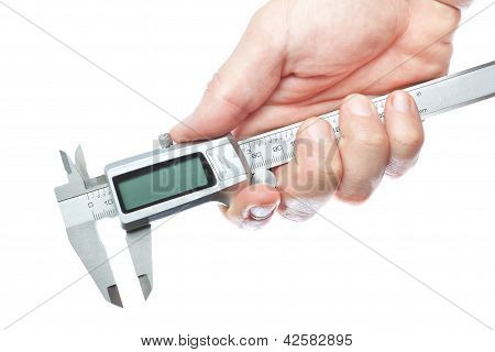 Trammel Vernier In Hand On A White Background.