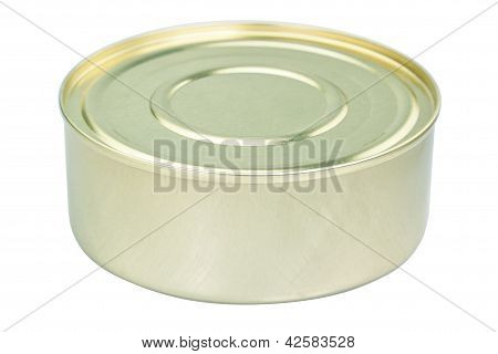 Round Tin Of Meat. Close-up On A White Background.