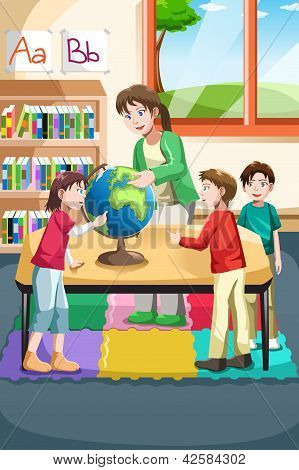 Kindergarten Teacher And Students
