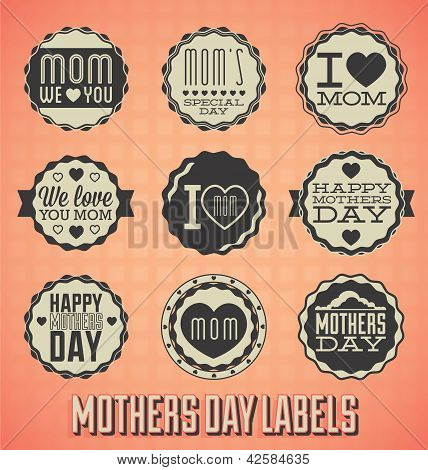 Vector Set: Vintage Happy Mothers Day Labels
