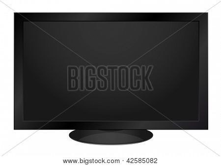 Black LCD TV isolated on white background - vector illustration