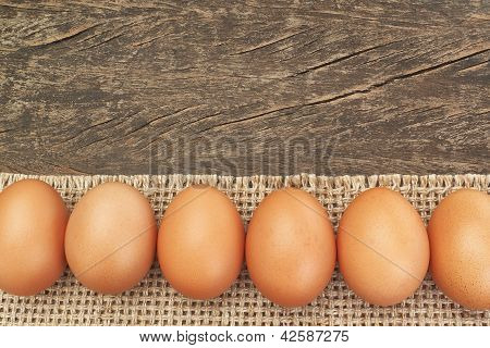 Group Of Easter Eggs On Sackcloth, For Frames And Labels.