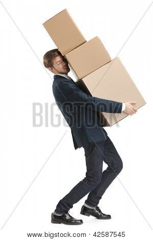 Shop assistant carries the parcel consisting of three boxes, isolated, white background