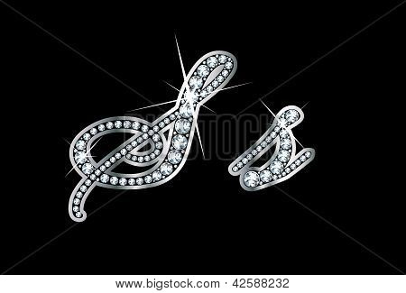 Script Diamond Bling Ss Letters