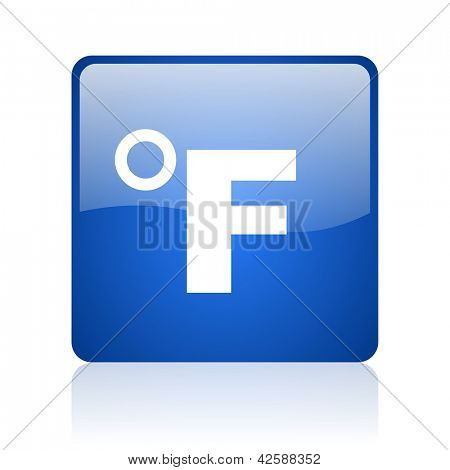 fahrenheit blue square glossy web icon on white background