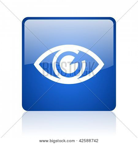eye blue square glossy web icon on white background