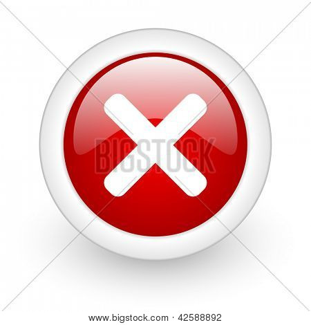 cancel red circle glossy web icon on white background