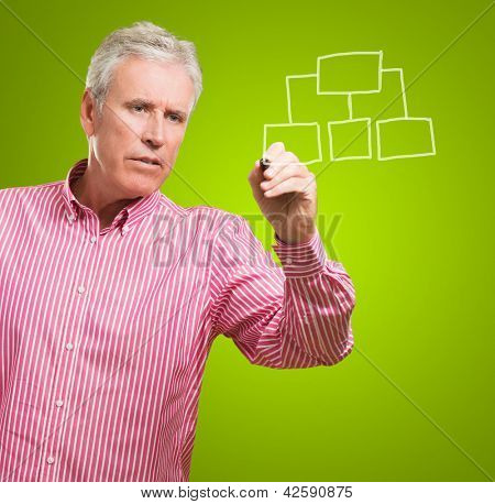 Mature Man Drawing Hierarchy Diagram On Green Background