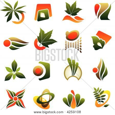 Vector Set Of Design Logo Elements With Leaf