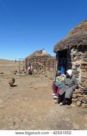 Unidentified family at Sani Pass, Lesotho at an altitude of 2 874m.