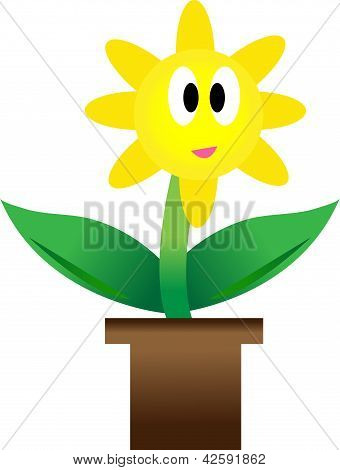 Illustration Of Growing Plant With Yellow Flower In Pot.