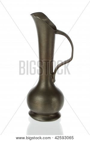 Antique Brass Pitcher, Jug  On A White Background.